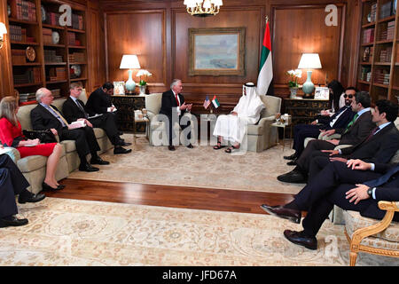 U.S. Secretary of State Rex Tillerson meets with UAE Crown Prince Mohammed bin Zayed in McLean, Virginia, on May - Stock Image