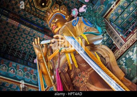 Maitreya Buddha statue in the Hall of Boundless Happiness, Lama Temple, Beijing - Stock Image