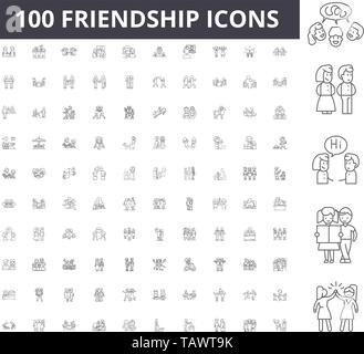Friendship line icons, signs, vector set, outline illustration concept  - Stock Image