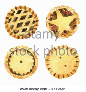 Watercolor painting of mince pies with different lids - Stock Image