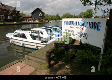 Day boats at Wroxham Norfolk Broads East Anglia UK - Stock Image