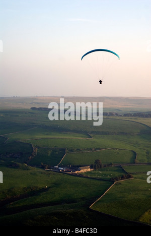 Paragluiding Mam Tour Ridge Castleton in the Peak District National Park Derbyshire England UK GB - Stock Image