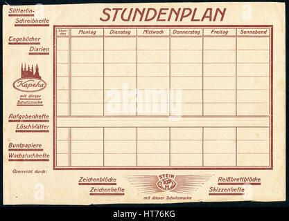 Blank timetable. East Germany (GDR), circa 1970 - Stock Image