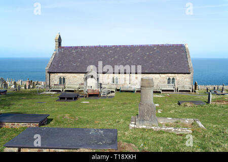 St.Tudno's Church on the Great Orme has been a site of Christian worship since the 6th century. The church we see today was built in the 12th century. - Stock Image