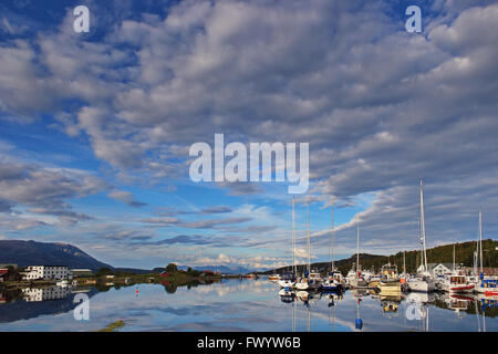 Sailboats are moored in a marina in Harstad in northern Norway. - Stock Image