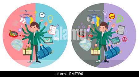 A set of school boy in sportswear who perform multitasking in offices and private.There are things to do smoothly and a pattern that is in a panic.It' - Stock Image
