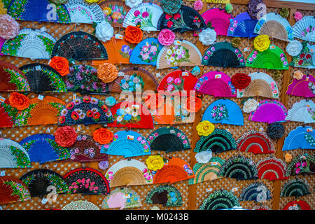 SEVILLE, ANDALUSIA / SPAIN - OCTOBER 13 2017: TRADITIONAL SPANISH FANS - Stock Image