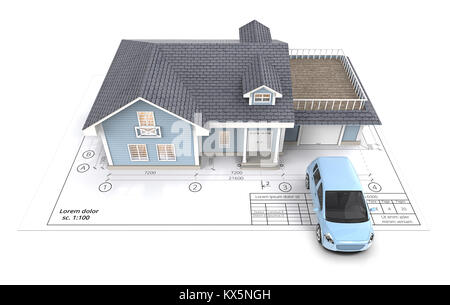 Blue Generic Car and House with Light from windows ontop of Blueprint. Top View. 3D render. - Stock Image
