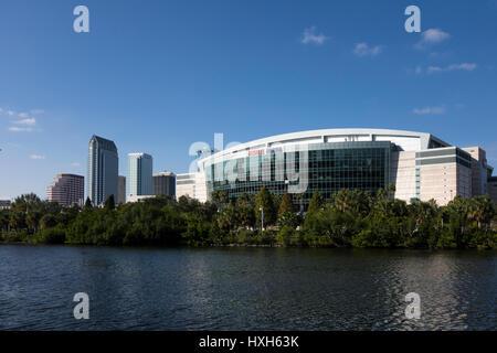 Amalie Arena and skyline, Tampa, Florida, USA - Stock Image