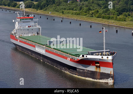 Roerborg passing the Kiel Canal - Stock Image