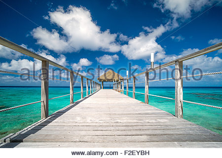 Rangiroa : Maitai hotel - jetty (pier) over the lagoon (French Polynesia) - Stock Image