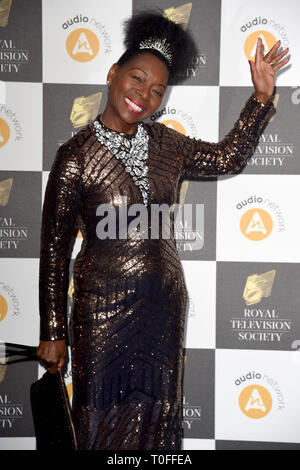 LONDON, UK. March 19, 2019: Floella Benjamin arriving for the Royal Television Society Awards 2019 at the Grosvenor House Hotel, London. Picture: Steve Vas/Featureflash Credit: Paul Smith/Alamy Live News - Stock Image