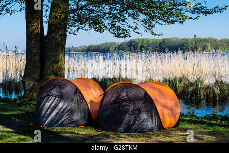 Two small tents, campsite, lake Schwerin, southern beach, Schwerin, Germany - Stock Image