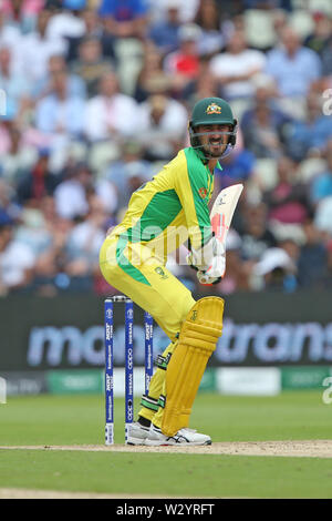 Birmingham, UK. 11th July 2019; Edgbaston, Midlands, England; ICC World Cup Cricket semi-final England versus Australia; Mitchell Starc waits to play a shot at the crease Credit: Action Plus Sports Images/Alamy Live News - Stock Image