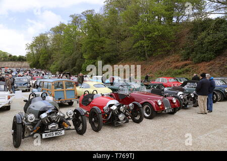 Morgan Three Wheelers and Morgan 4/4, British Marques Day, 28 April 2019, Brooklands Museum, Weybridge, Surrey, England, Great Britain, UK, Europe - Stock Image