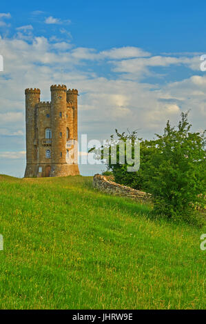 Broadway Tower is a stone castle tower standing on the top of Fish Hill, the second highest point in the Cotswolds, - Stock Image