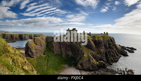 Panorama of Dunnottar Castle Medieval clifftop ruins from cliff at Old Hall Bay North Sea near Stonehaven Scotland UK - Stock Image