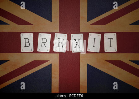 Brexit spelt out on a Union Jack flag - Stock Image