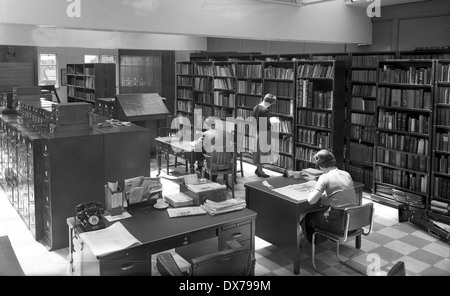 Express & Star newspaper office library in Queen Street Wolverhampton West Midlands 1957 - Stock Image