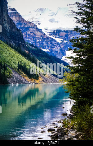 Beautiful views of Lake Louise in Banff National Park in the Rocky Mountains of Alberta Canada - Stock Image