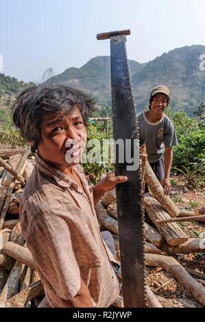 Local farmer in the Taunggyi region of Shan, Myanmar cutting wood - Stock Image
