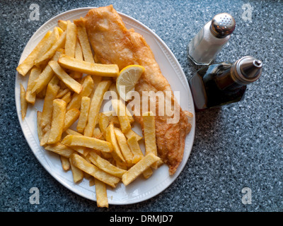 A view above fish & chips on a plate in award winning Lloyds fish and chip shop restaurant in Lampeter Ceredigion Wales UK   KATHY DEWITT - Stock Image