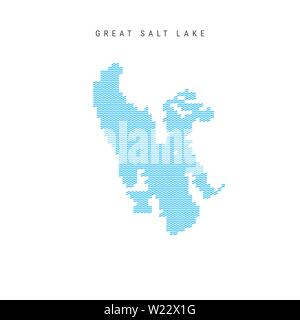 Vector Blue Wave Pattern Map of Great Salt Lake, One of the Lakes of North America. Wavy Line Pattern Silhouette of Great Salt Lake. - Stock Image
