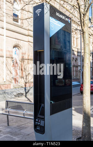 BT InLinkUK public wi-fi and charging station, Nottingham, England, UK - Stock Image