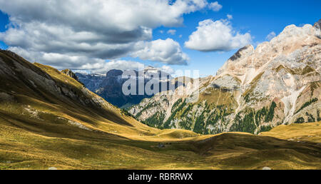 Dolomites Mountains, autumn landscape in the The Fassa Valley, Trentino Alto Adige, Alps, northern Italy, Europe - Stock Image