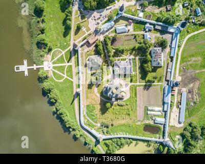 Joseph-Volokolamsk lavra or Josepho-Volotsky monastery, and a lake, near Volokolamsk, Moscow Oblast, Russia. Russian Eastern Orthodox Christian Church - Stock Image