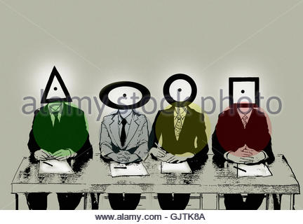 Row of businessmen with different shape heads - Stock Image