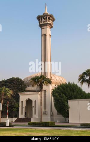 Al Farooq Mosque in the historical district of Al Bastakiya, Dubai, United Arab Emirates. - Stock Image