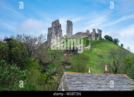 View of Corfe Castle in Dorset, England, UK - Stock Image