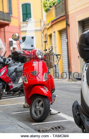 Red Vespa Scooter,  Santa Margherita Ligure. - Stock Image