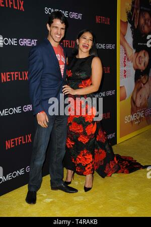 Los Angeles, CA, USA. 17th Apr, 2019. Joe LoCicero, Gina Rodriguez at arrivals for SOMEONE GREAT Premiere on NETFLIX, ArcLight Hollywood, Los Angeles, CA April 17, 2019. Credit: Elizabeth Goodenough/Everett Collection/Alamy Live News - Stock Image