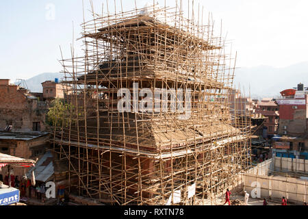 It will take many years, or decades, to re-build the ancient temples that were destroyed in the 2015 earthquake. Bhaktapur, Nepal. - Stock Image