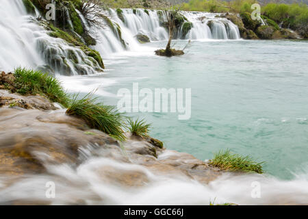 geography / travel, Croatia, Dalmatia, Zrmanja river waterfall, Additional-Rights-Clearance-Info-Not-Available - Stock Image