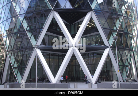 Base of the Swiss Re Tower London - Stock Image