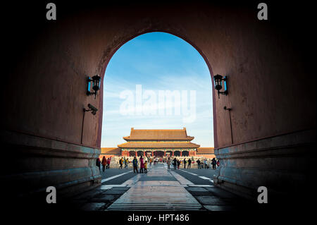 View of the Gate of Supreme Harmony from beneath the Meridian Gate at the Forbidden City, Beijing - Stock Image