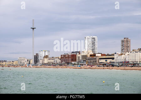 Brighton seafront with the British Airways i360 observation tower. - Stock Image