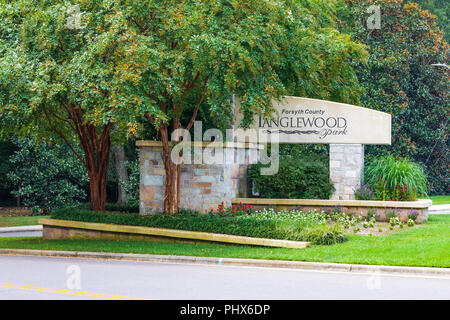 CLEMMONS, NC, USA-8/30/18: Tanglewood Park entrance sign, a recreation center, campground and park. - Stock Image