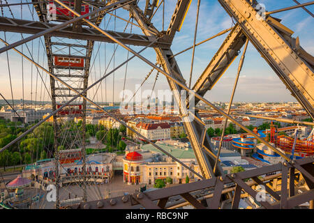 Prater Vienna, view across the Prater amusement park from within a compartment in the famous Riesenrad ferris wheel in Vienna, Austria. - Stock Image