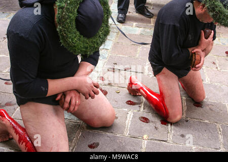Nocera Terinese (Italy) - A 'vattiente'  flagellates himself during the Processione dell'Addolorata in the Easter Holy Saturday - Stock Image