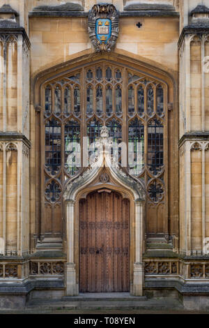 Old doorway into the Divinity College - built 1488, Oxford, Oxfordshire, England - Stock Image