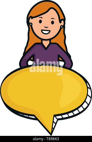 young woman with speech bubble avatar character vector illustration design - Stock Image