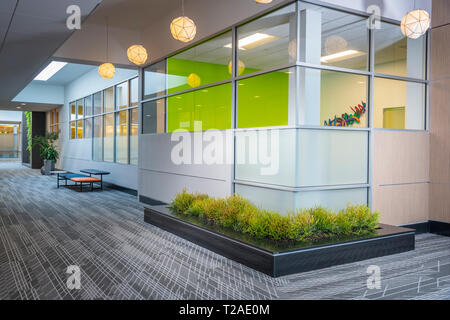 Commercial Office Building Interior Large Hallway With Seating, Philadelphia, PA USA - Stock Image
