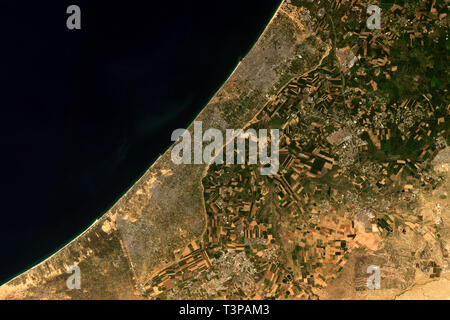 The Gaza Strip, a self-governing Palestinian territory seen from space - contains modified Copernicus Sentinel Data (2019) - Stock Image