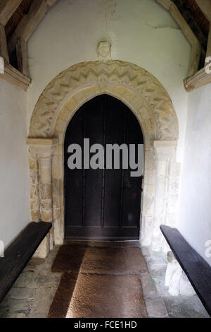 Norman south door, St Edmund's Church, South Burlighamn, Norfolk. - Stock Image