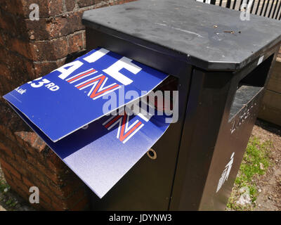 Remain Poster Confined to The Litter Bin after the EU Referendum after the 23 June 2016, Totness, Devon, England, - Stock Image