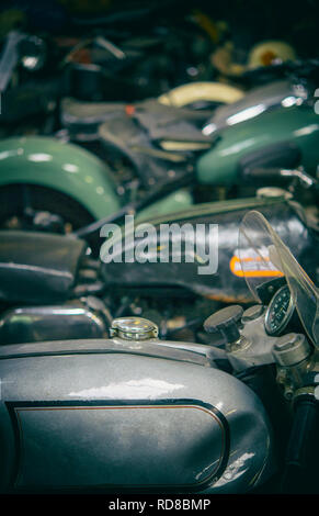 Collection of vintage motorbikes at the Llangollen Motor Museum in Wales - Stock Image
